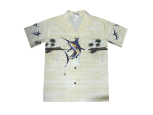 Boy's Hawaiian Shirts S / White Jumping Marlin Boy's Hawaiian Shirt