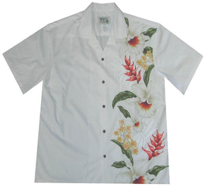 Hawaiian Shirt S / White Macaw Flower and Orchid Hawaiian Panel Shirt