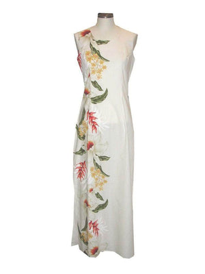 Long Tank Dress S / White Macaw Flower and Orchid Long Tank Hawaiian Dress