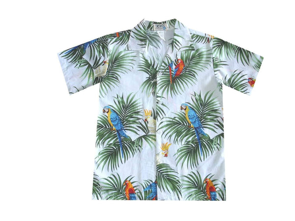 Boy's Hawaiian Shirts S / White Parrot Forest Boy's Hawaiian Shirt