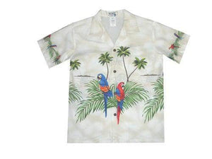 Boy's Hawaiian Shirts S / White Parrot Paradise Boy's Hawaiian Shirt