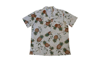 Hawaiian Blouse S / White Pineapple Mania Women's Hawaiian Shirt