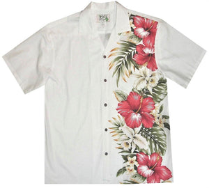 Hawaiian Shirt S / White Red Hibiscus and Orchid Hawaiian Panel Shirt