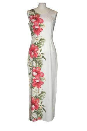 Long Tank Dress S / White Red Hibiscus and Orchid Long Tank Hawaiian Dress