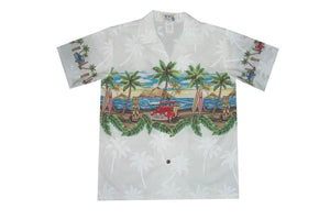 Boy's Hawaiian Shirts S / White Tiki and Woody Boy's Hawaiian Shirt