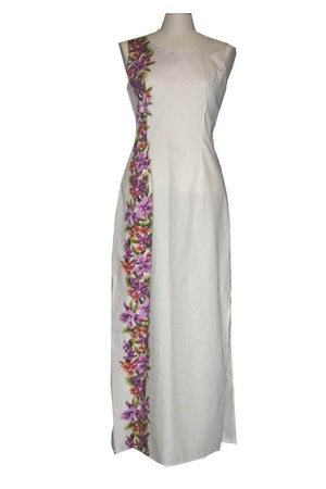 Long Tank Dress S / White Tiny Orchid Lei Long Tank Hawaiian Dress