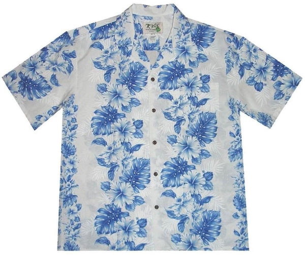 Hawaiian Shirt S / White w/ Blue Floral Lei Hawaiian Shirt