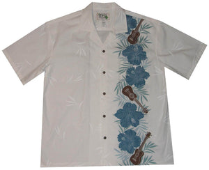 Ky's White with Blue Ukulele Passion Hawaiian Shirt.
