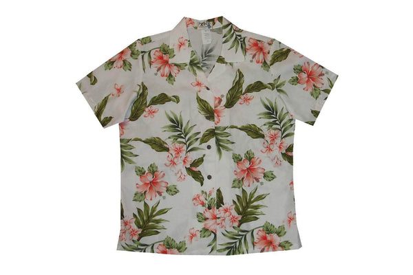 Hawaiian Blouse S / White w/ Coral Hibiscus Garden Women's Hawaiian Shirt