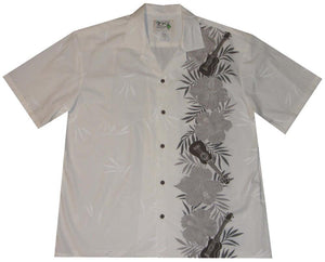 Ky's White with Gray Ukulele Passion Hawaiian Shirt.