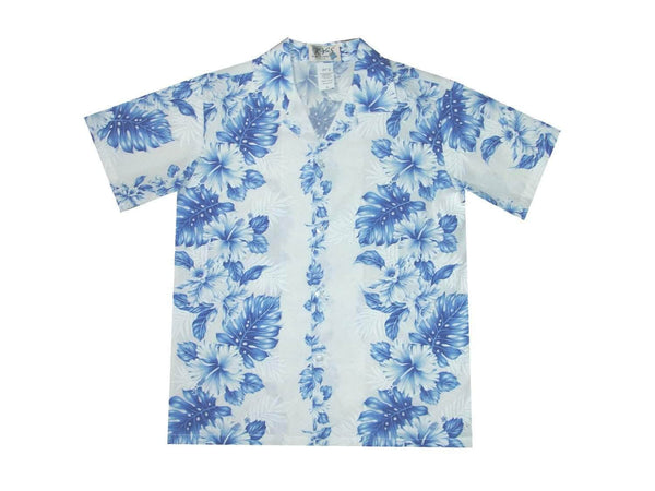Boy's Hawaiian Shirts S / White w/ Navy Blue Floral Lei Boy's Hawaiian Shirt