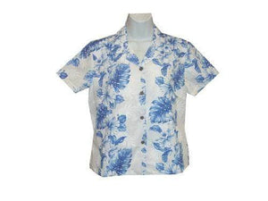 Girl's Hawaiian Blouse S / White w/ Navy Blue Floral Lei Girl's Hawaiian Blouse
