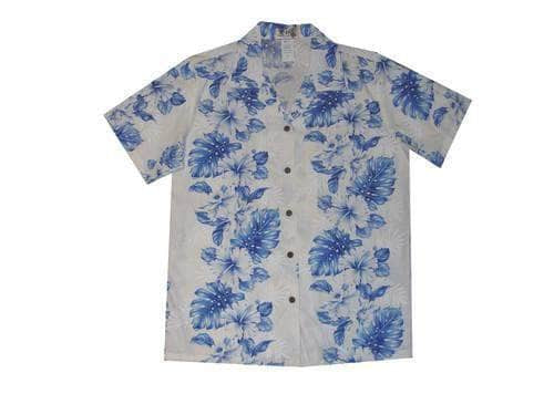 Hawaiian Blouse S / White w/ Navy Blue Floral Lei Women's Hawaiian Shirt