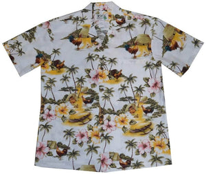 KY's White Wild Rooster Hawaiian Shirt.