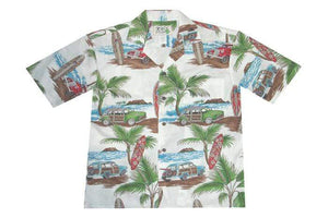 Hawaiian Shirt S / White Woody Surf Hawaiian Shirt