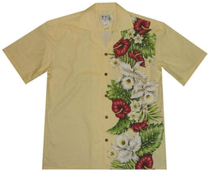 Hawaiian Shirt S / Yellow Anthurium and Orchid Hawaiian Panel Shirt