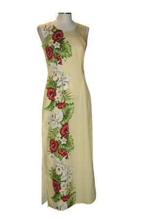 Long Tank Dress S / Yellow Anthurium and Orchid Long Tank Hawaiian Dress