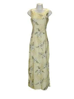 Long Tank Dress S / Yellow Garden Orchid Long Tank Hawaiian Dress