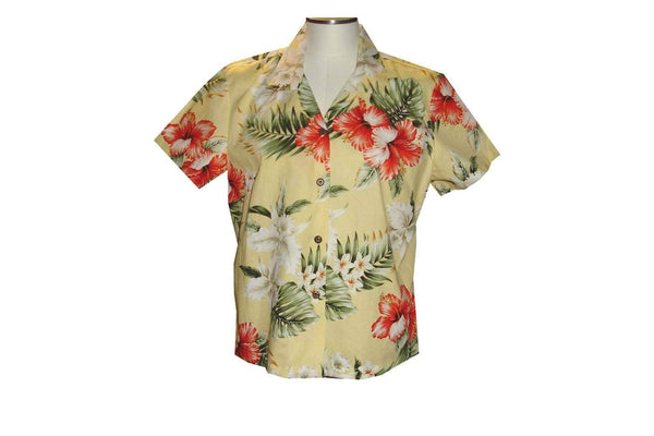 Girl's Hawaiian Blouse S / Yellow Hibiscus and Orchid Girl's Hawaiian Blouse
