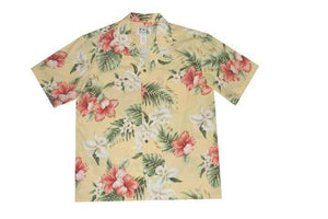 Hawaiian Shirt S / Yellow Hibiscus and Orchid Hawaiian Shirt