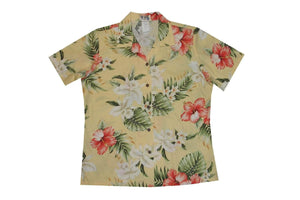 Hawaiian Blouse S / Yellow Hibiscus and Orchid Women's Hawaiian Shirt