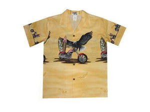 Boy's Hawaiian Shirts S / Yellow Patriotic Motorcycle Boy's Hawaiian Shirt