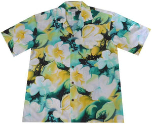 Hawaiian Shirt S / Yellow Splash Hibiscus Rayon Hawaiian Shirt
