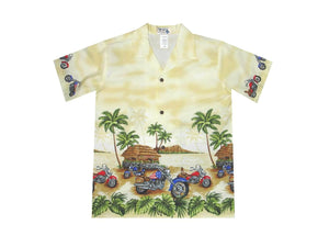 Boy's Hawaiian Shirts S / Yellow Tropical Motorcycles Boy's Hawaiian Shirt