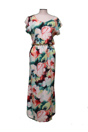 Maxi Rayon Dress Splash Hibiscus Hawaiian Maxi Rayon Dress