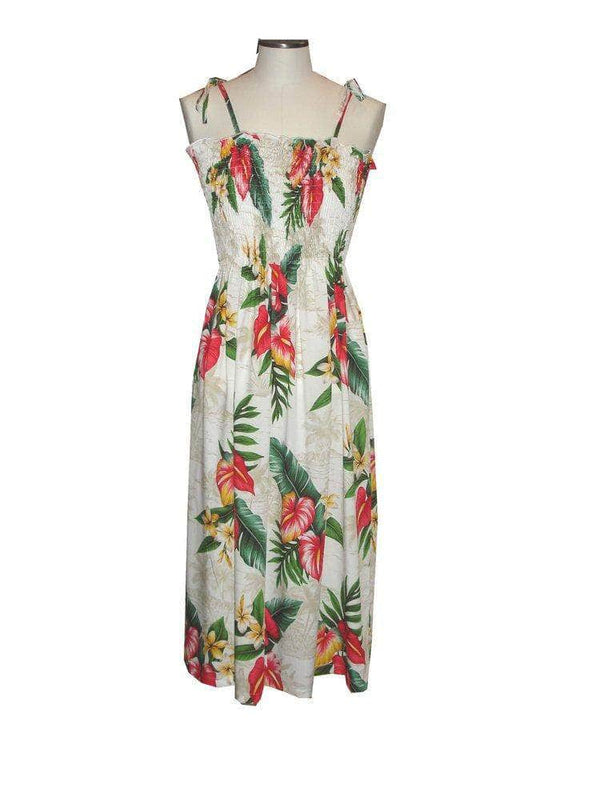 Tube Dress White / Midi Anthurium Flowers Hawaiian Tube Dress