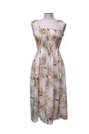 Tube Dress White / Midi Blooming Orchid Hawaiian Tube Dress