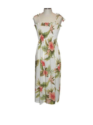 Tube Dress White / Midi Wild Hibiscus Hawaiian Tube Dress