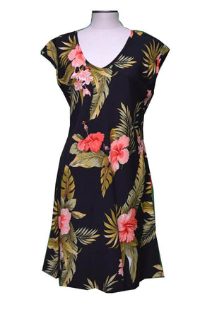 Short Paradise Dress XS / Black Wild Hibiscus Hawaiian Short Paradise Dress