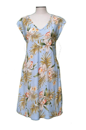Short Paradise Dress XS / Blue Blooming Orchid Hawaiian Short Paradise Dress