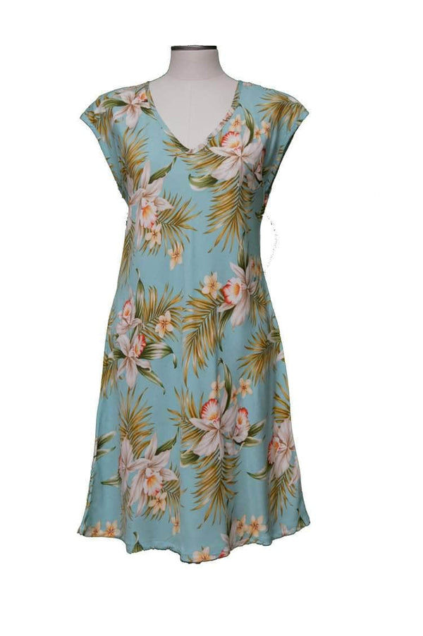 Short Paradise Dress XS / Green Blooming Orchid Hawaiian Short Paradise Dress
