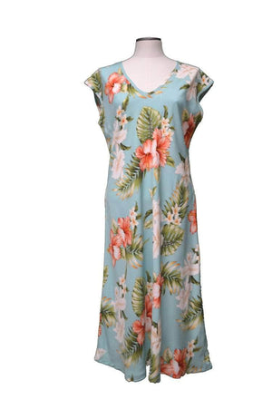 Paradise Dress XS / Green Majestic Hibiscus Hawaiian Paradise Dress