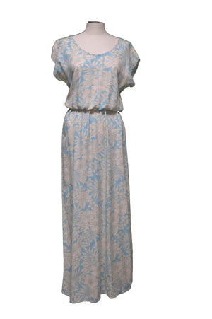 Maxi Rayon Dress XS / Light Blue Hidden Hibiscus Garden Hawaiian Maxi Rayon Dress