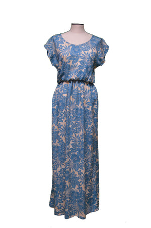 Maxi Rayon Dress XS / Navy Blue Hidden Hibiscus Garden Hawaiian Maxi Rayon Dress