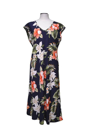 Paradise Dress XS / Navy Blue Majestic Hibiscus Hawaiian Paradise Dress