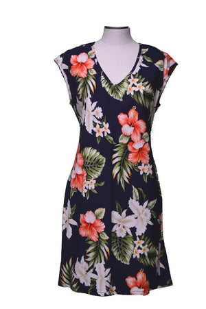 Short Paradise Dress XS / Navy Blue Majestic Hibiscus Hawaiian Short Paradise Dress