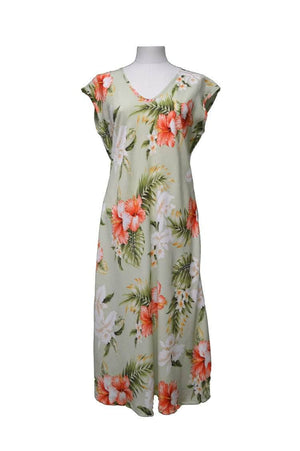 Paradise Dress XS / Olive Majestic Hibiscus Hawaiian Paradise Dress