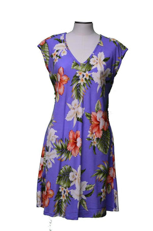 Short Paradise Dress XS / Purple Majestic Hibiscus Hawaiian Short Paradise Dress