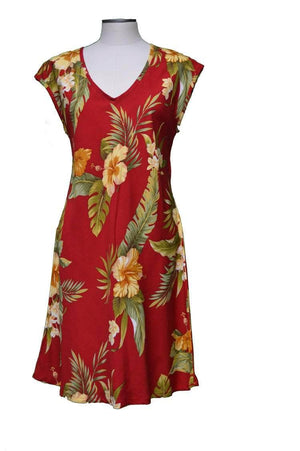 Short Paradise Dress XS / Red Wild Hibiscus Hawaiian Short Paradise Dress