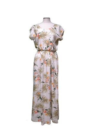 Maxi Rayon Dress XS / White Blooming Orchid Hawaiian Maxi Rayon Dress