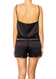satin silk black shorts Domenico Gardini resort wear