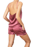 satin silk rose purple shorts Domenico Gardini resort wear