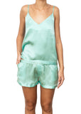 satin silk spaghetti strap mint green camisole top Domenico Gardini resort wear