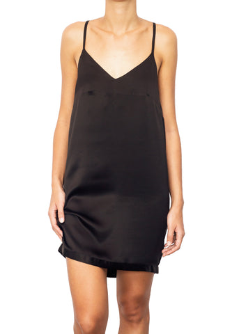 DELIZIA SILK SLIP DRESS NERO BLACK