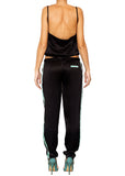 satin silk black long pants colour-block detail Domenico Gardini resort wear