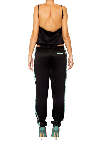 DEVOTA SILK LONG PANTS NERO BLACK